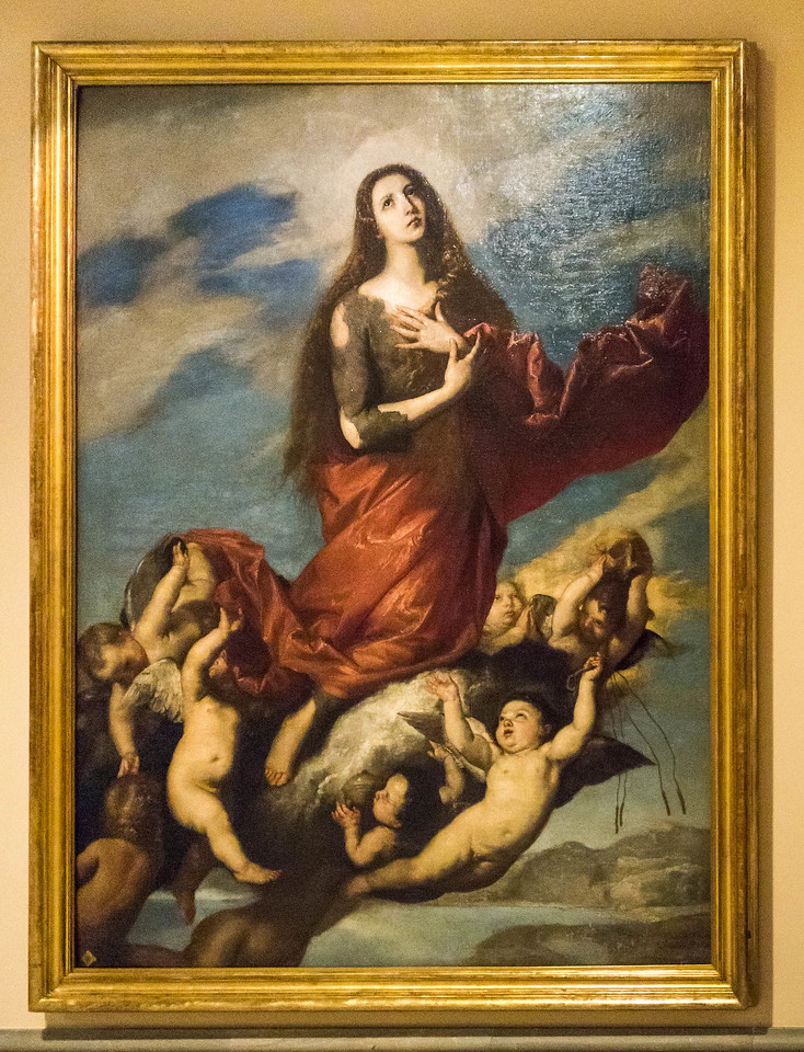 José de Ribera: Himmelfahrt Maria Magdalena [1636, Academia de Bellas Artes, Madrid]