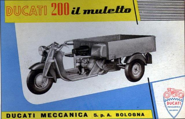 "Ducati 200CC ""Little Mule"" brochure. Built in the late 50's to meet Italian working transportaion needs and compete with Piaggio's Ape which was and remains a daily part of the Italian transportation workforce from farms to the inner cities"