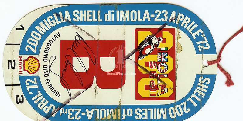 1972 Imola Pit Pass, signed by Paul Smart from the year that he won.  Interesting note - the pass is really more like a badge, it's made of thin metal