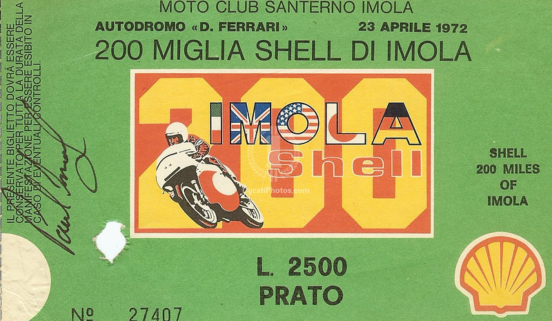 2500 lire and this ticket got you in to watch Paul Smart make Ducati history