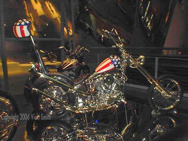 This is a replica of the original bike from the movie Easy Rider.  The movie bikes were all stolen or destroyed.