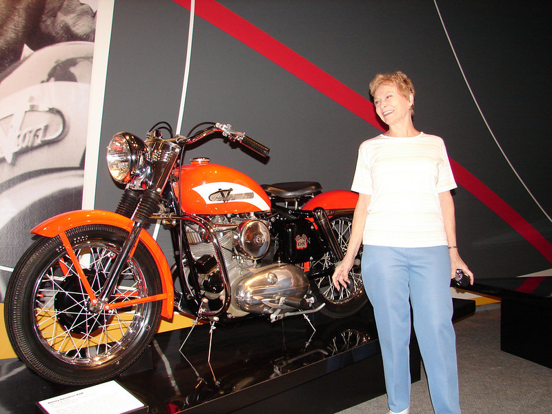That's her Harley.  She bought it new