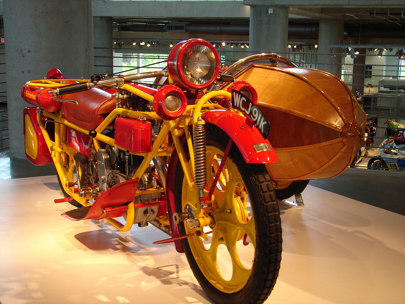 The sidecar is wood.  It's a work of art