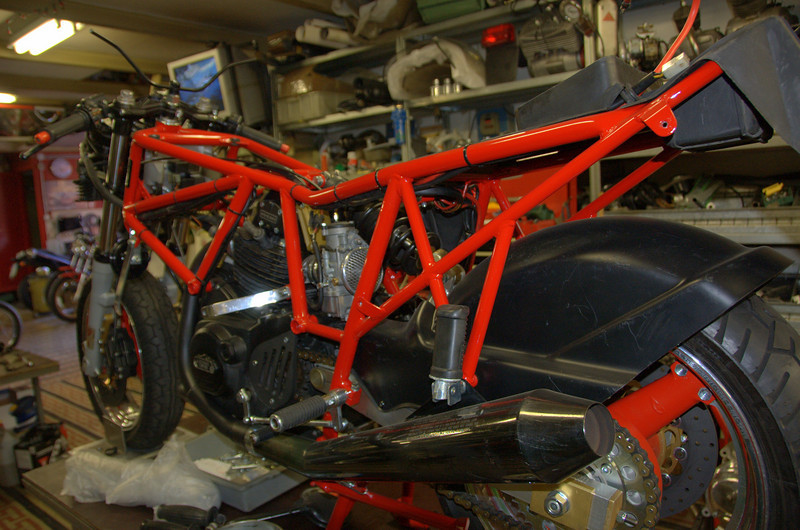 """That's a customer project bike. A Montjuich. Rino built the bike that won the race. Now he is restoring this bike to salute the accomplishment. MoMany of Rino's restorations end up in small museums spread around the Bologna """"Motor Valley"""".  Many are open to the public by appointment and can be found on the Motor Valley website"""