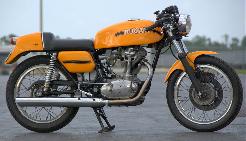 "This 450 Desmo ""disk brake"" Ducati is one of 15 produced for the Australia market at the end of the production run. The factory used the remaining parts to build this special run at the Australian distributers request. The last ""regular"" models were made in 1974, this run was produced in 1978 and probably qualifies as one of the rarest Ducati's built. This one was imported from Hobart, Tasmania."