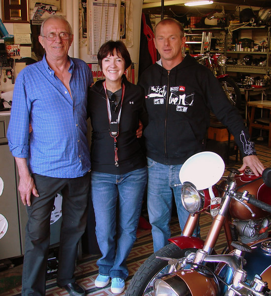 "Reno Caracchi, Stefano Caracchi (owner of the WSBK team that bears his name) and Vicki Smith with ""Vicki 5"", the 5th bike Reno has entered in the Motogiro d'Italia and my magic transportation back in time for the upcoming 5 days...."