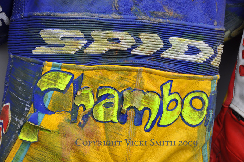 Plenty of memorabilia as well.  These are Superbike rider Stefan Chambon's leathers
