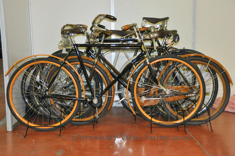 These bicycles with wooden wheels were beautiful