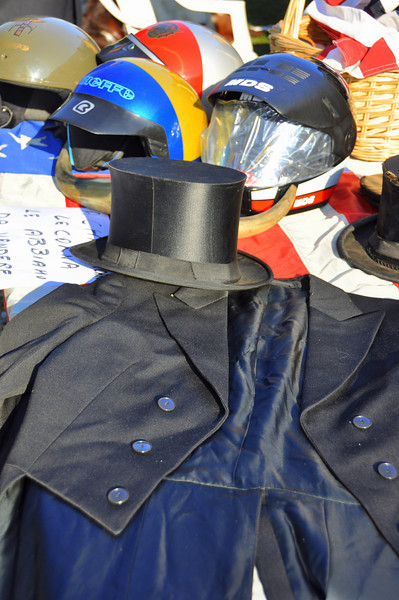 Collapsible top hat & tails with half helmets. Why not?