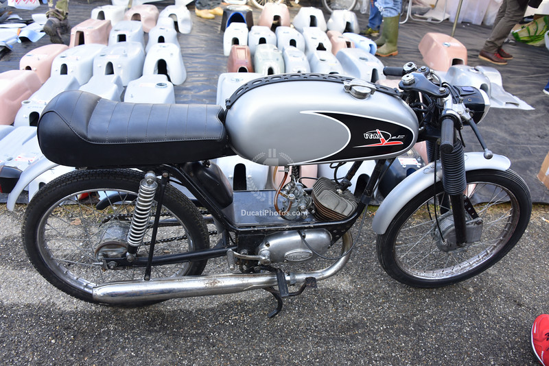 This little 50cc gem is an Italjet (I think it's called a Mustang)