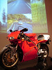 """1997 916SPS.  Ducati's first use of the 996cc cases, this was the """"Homolagation bike"""".  Photographed at the Art of the Motorcycle exhibit,  it is #100 in the series and is exactly as received from Ducati in 1997."""