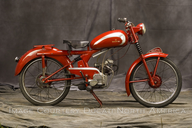 1949 Ducati 60<br /> OWNER - Larry Helfand<br /> Condition - Unrestored<br /> Offered as a complete unit by Ducati, the model 60 was the first to appear with the newest design of the Cucciolo engine, now with pushrod operated overhead valves.