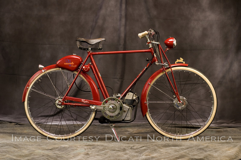 1948 T2 Cucciolo<br /> OWNER - Henry Hogben<br /> Condition - Restored<br /> Cucciolo engine fitted to German built Wander brand bicycle frame.