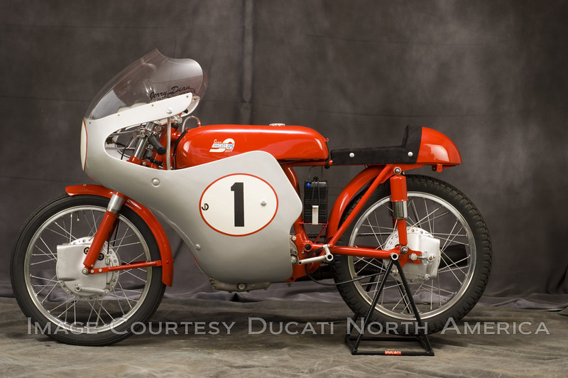 """1957 125 Gran Sport """"Marianna""""<br /> OWNER - Jerry Dean<br /> Condition - Restored<br /> Built in several displacements and very limited numbers, this is the 125 cc version of the highly successful factory production racer."""