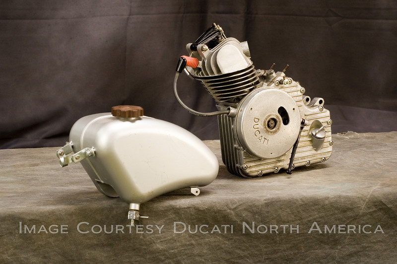 1950 T50 Cucciolo Engine and fuel tank<br /> OWNER - Rich Lambrechts<br /> Restored<br /> Final design of the Cucciolo engine's intended for clip-on use.