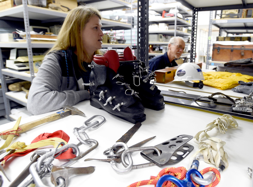 . Kristin Lewis and Tim Imbrock, look over old alpine equipment that will be in the new museum. The new Museum of Boulder, opening next year, has announced its permanent exhibits and the crew over at its Gunbarrel artifacts facility were cataloguing and preparing the artifacts for the exhibits. Cliff Grassmick  Staff Photographer April 5, 2017