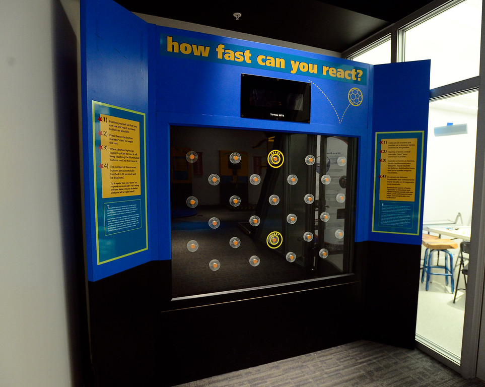 . The Reaction Attraction game that is  part of the Sportsology exhibit at The Museum of Boulder�. For more photos go to dailycamera.com Paul Aiken Staff Photographer May 15, 2018