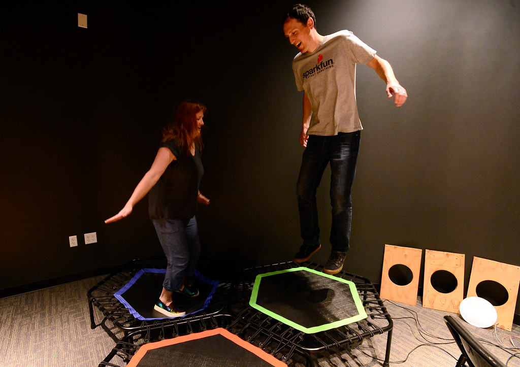 . Kristen and Pete Lewis test out the trampolines in the Boulder Bounces section as part of the Sportsology exhibit at The Museum of Boulder�. For more photos go to dailycamera.com Paul Aiken Staff Photographer May 15, 2018