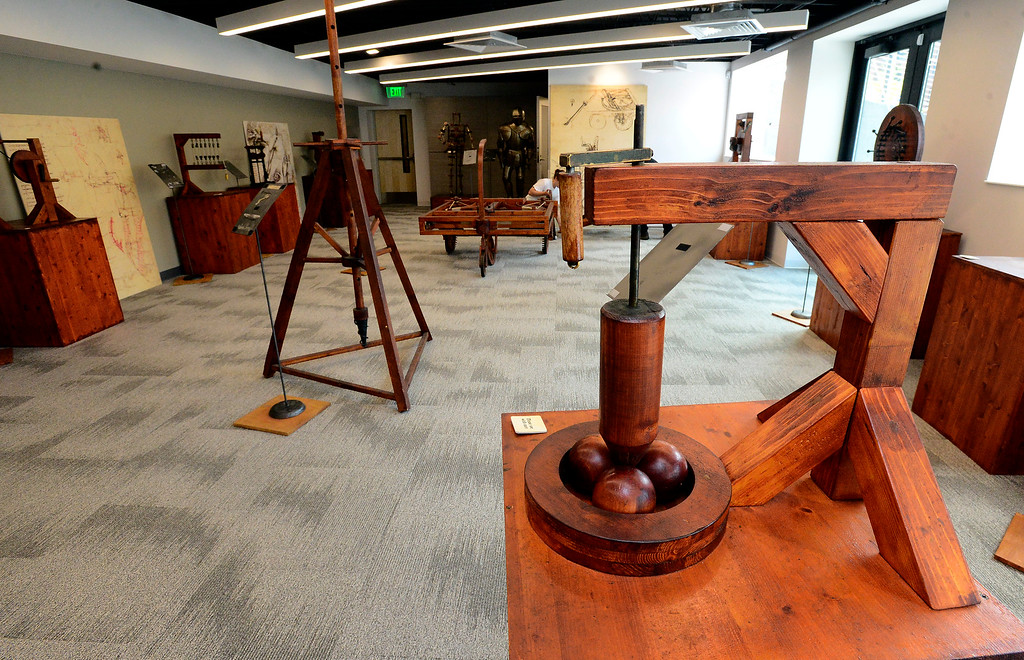 . An exhibit on ball bearings based on drawings by Leonardo da Vinci in the da Vinci\'s Machines exhibit at The Museum of Boulder� on Tuesday. For more photos go to dailycamera.com Paul Aiken Staff Photographer May 4, 2018