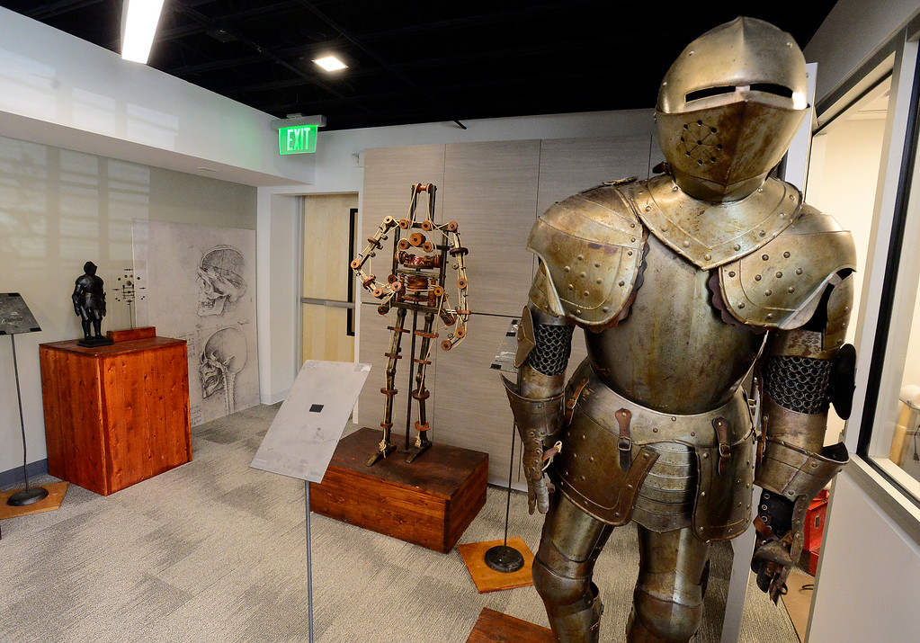 . The Robot Knight exhibit in the da Vinci\'s Machine exhibit in The Museum of Boulder� on Tuesday. Leonardo da Vinci designed to Robot Knight to move mechanically and put it inside the suit of armor to hide the mechanical devices. For more photos go to dailycamera.com Paul Aiken Staff Photographer May 4, 2018