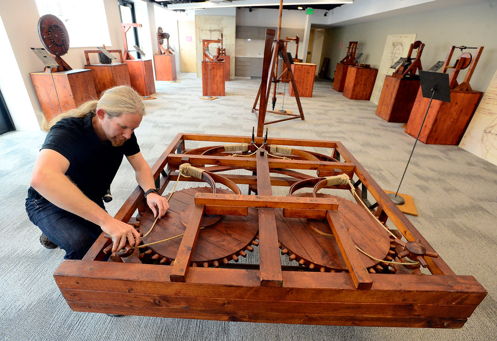 . Tom Rizzo, Manager of Traveling Exhibitions of the Artisans of Florence builds Leonard da Vinci\'s spring car in the da Vinci\'s Machines exhibit in the The Museum of Boulder� on Tuesday. For more photos go to dailycamera.com Paul Aiken Staff Photographer May 4, 2018