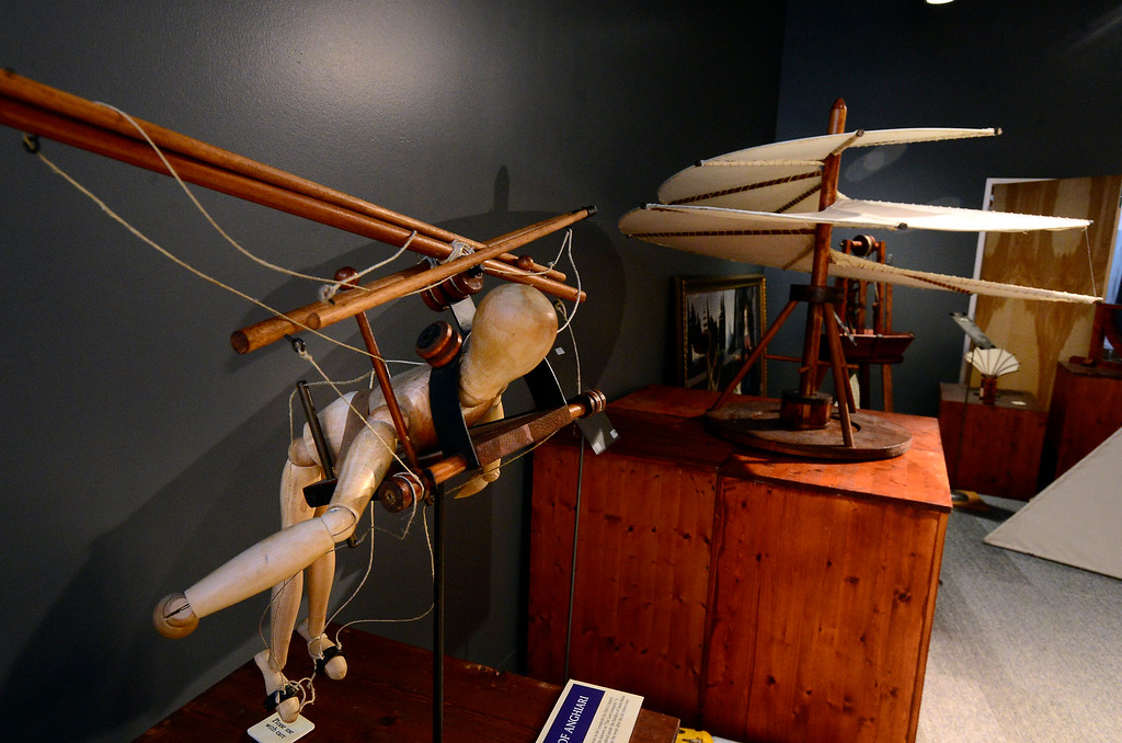 . Models of two of Leonardo da Vinci flying machines the Ornithopter and the Aerial Screw in the da Vinci\'s Machines exhibit at the The Museum of Boulder� on Tuesday. For more photos go to dailycamera.com Paul Aiken Staff Photographer May 4, 2018