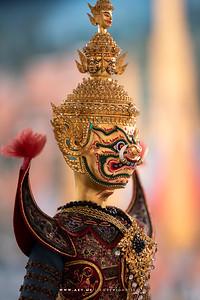 Miniaturised Marionettes in the Thotsakan (Ravana) wooed Princess Sita, Artist: Pattarachai Saengdokmai The Root of Thai Art from Century to Century Exhibition, Bangkok Art and Culture Centre (BACC)