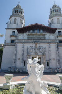 Exterior, with statue, of Hearst Castle