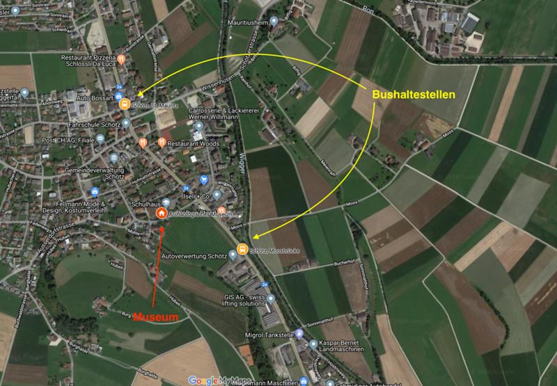 """Archäologisches Museum Schötz mit Bushaltestellen """"St. Mauritz"""" und """"Moosbrücke"""""""
