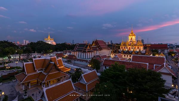 Loha Prasat at Wat Ratchanadda, Phu Khao Thong at Wat Saket  and King Rama III Memorial Park (Maha Jessada Bodin Courtyard Pavillion)