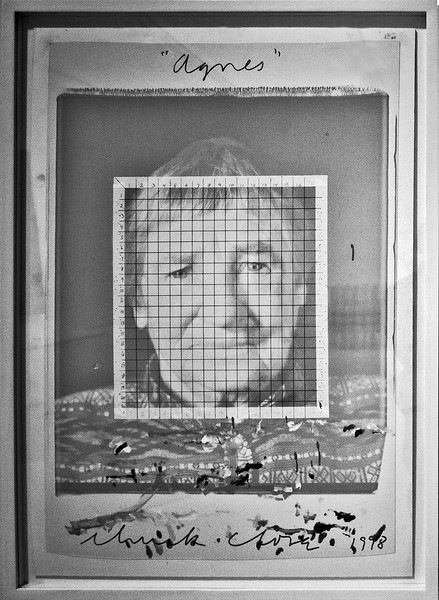I photographed this image of artist Agnes Martin, by Chuck Close, during a 2011 visit to the SFMOMA. The grid was used to define small areas that were then used to create a  color work. (the next image).