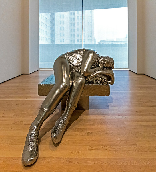 """Sleeping Woman"" - 2012<br /> A stainless steel sculpture by Charles Ray."