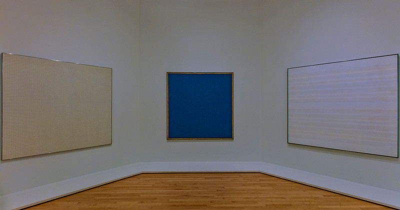This and the next image are works of Agnes Martin.