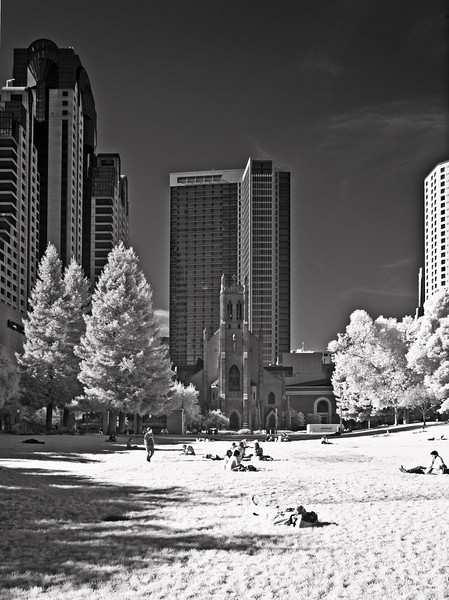 San Francisco's Yerba Buena Gardens, with St. Patrick Church in the background
