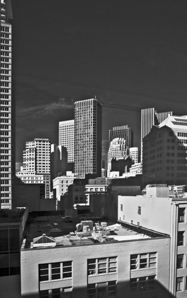 San Francisco city-scape, seen from inside the SFMOMA.