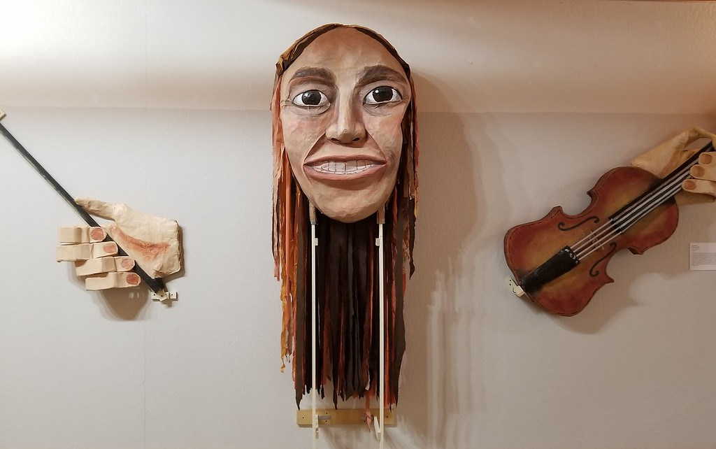 . Aura Whittaker for the Willits News The Mendocino County Museum owns an extensive collection of items associated with the famous environmental activist Judi Bari and the Earth First movement including this paper mache puppet on display in the long gallery.