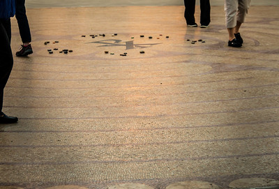 prayer group walks the labyrinth