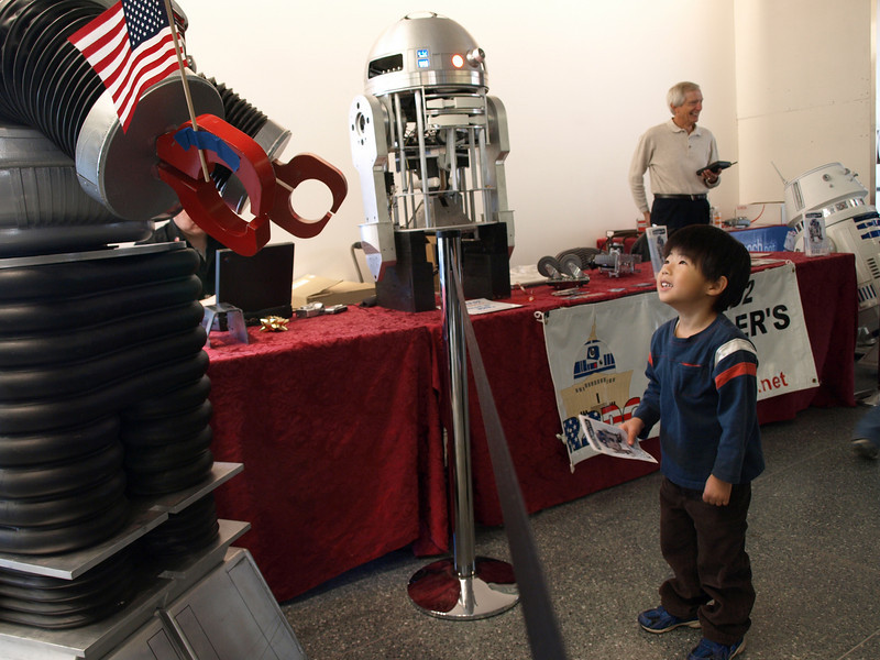 Robbie the Robot conversed with a fascinated youngster.