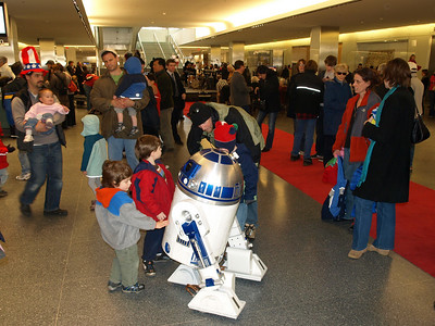 R2D2 was a big hit with visitors even shorter than he.