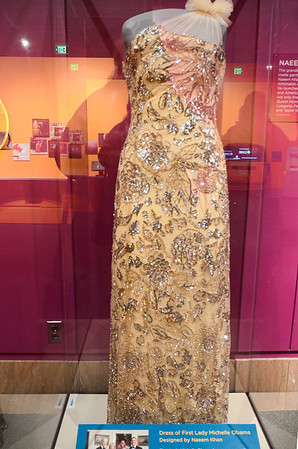 Beyond Bollywood exhibition at the  National Museum of Natural History Washington DC March 2014.  Gown designed by Naeem Kahn, worn by First Lady Michelle Obama at the 2012 Governors' Dinner.