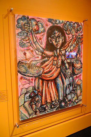 "Beyond Bollywood exhibition at the  National Museum of Natural History Washington DC March 2014.  Ruee Gawarikar, ""The Goddess of Visas,"" 2013, mixed media on canvas."