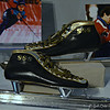 """""""DAN JANSEN'S SKATES"""" (1994)<br /> <br /> """"Figure Skaters: """" All our lives we practice landing on our feet."""" ~ Anonymous<br /> <br /> Dan Jansen's skates, shown here, are on loan courtesy of  Dan Jansen. They are made of leather and steel, 1994.<br /> <br /> """"Dan Jansen wore these skates when he won the gold medal in the 1000-meter speed skating event at the 1994 Winter Games in Lillehammer, Norway. His story inspired many including his fellow Olympians who honored Jansen when they chose him to carry the flag at the closing ceremony."""" ~ Reprinted text from a nearby information card<br /> <br /> To the right of the skates, (unseen in this photo), is the Gold Medal that Dan Jansen won in the 1994 Winter Games in Lillehammer, Norway and a nearby information card. <br /> <br /> Gold medal<br /> 1994 Winter Games, Lillehammer, Norway<br /> Ingjerd Hanevold<br /> Gilt Silver, Sparagmite<br /> <br /> On loan courtesy of Dan Jansen<br /> <br /> After Don Jansen's victory at the Lillehammer Games in 1994, President Clinton interrupted Jansen's press conference with an unexpected phone call to wish him congratulations. Jansen told the assembled press, """"He said, the whole country's proud. He said he was expressing how the whole country was pulling for me."""" ~ Reprinted text from a nearby information card<br /> <br /> """"This inspiring exhibit tells the story of American athletes in the modern Olympic and Paralympic Games. """"Set against the backdrop of the 2016 Olympic Games in Rio de Janeiro, Brazil, this exhibit tells the story of American athletes in the modern Olympic Games. Beyond celebrating their achievements and athleticism, the exhibit, like the Olympic Games themselves, honors the human spirit that unites us all: across borders, generations, gender and race. The exhibit will include photographs, film, and memorabilia featuring dozens of American Olympic athletes."""" <br /> <br /> ~ Reprinted text from here: <br /> <br /> <a href=""""https://www.clintonlibrary.gov/1480-2/"""">http"""