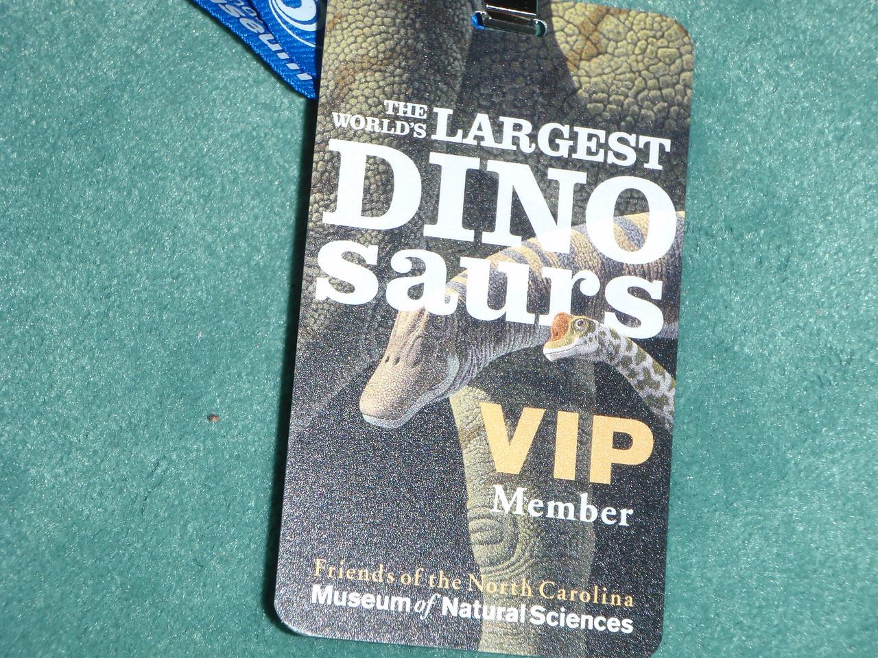 Exhibit entry badge.