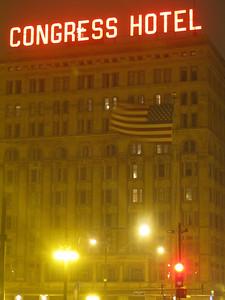 Congress Hotel at night