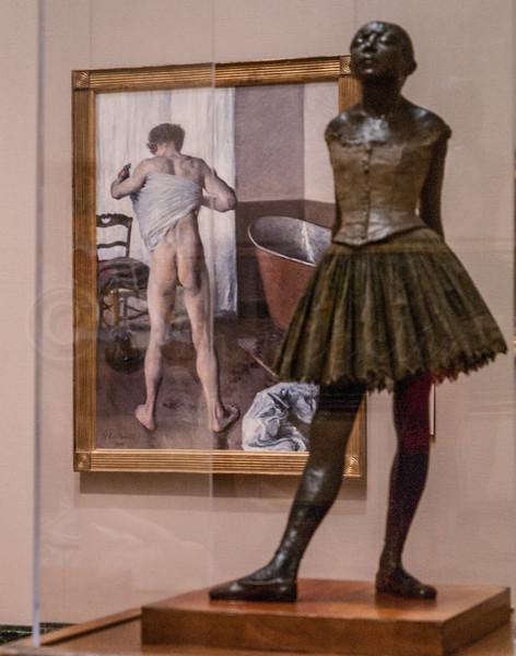 Juxtaposition. Young ballerina and man at bath.