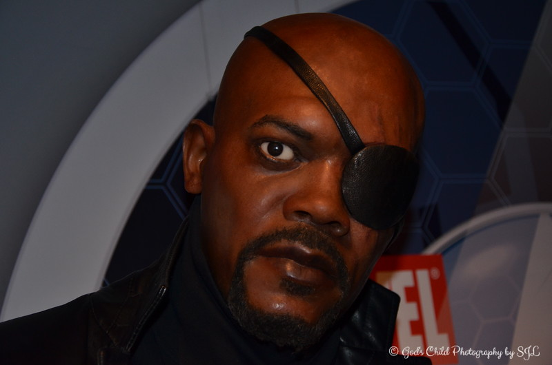 """June 2017<br /> <br /> SAMUEL l. JACKSON as """"NICK FURY""""<br /> <br /> """"Colonel Nicholas Joseph """"Nick"""" Fury is a fictional character appearing in American comic books published by Marvel Comics.""""<br /> <br /> """"Did you know? Nick Fury was hit in the left eye with a grenade during a mission. A lack of care aggravated the wound and he eventually only retained 5% of his vision. That's why he wears an eye patch. His 'infinity formula' results in Fury ageing incredibly slowly. He retains the appearance, strength and energy of someone half his age. The only condition is that he needs another injection with the serum every year. Nick Fury is a linguistic genius: he speaks fluent English, German, Russian and Japanese and can also adequately express himself in various other languages.""""<br /> <br /> ~ Reprinted text from the official website<br /> <br /> The amazing story of Madame Tussauds began more than 200 years ago when she started sculpting figures in the French court of Louis XVI. Get the star treatment when you arrive in style on the Madame Tussauds Las Vegas red carpet. As guests enter the attraction and begin their stroll down the red carpet, they look up and find that they have arrived! They soon realize this is their moment and the cameras and attention are on them! """"Famous Fun"""" experience begins........just like the real stars, as you continue to sashay down the red carpet, you see paparazzi everywhere. It's just another night in Las Vegas...…or is it? After all, this is Madame Tussauds Las Vegas and anything is possible, just around the corner.<br /> <br /> """"Madame Tussauds Interactive Wax Museum"""" 2017<br />  @The Venetian<br />  Las Vegas, NV<br /> <br />  Official Website: <br /> <br /> <a href=""""http://www.madametussauds.com/LasVegas"""">http://www.madametussauds.com/LasVegas</a><br /> <br /> My Homepage: <br /> <br />  <a href=""""http://www.GodsChild.SmugMug.com"""">http://www.GodsChild.SmugMug.com</a>"""