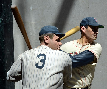 Sculptures of Babe Ruth and Ted Williams made entirely from wood by Sculptor Armand LaMontagne of Sciatuate, Rhode Island in the Hall of Fame Gallery
