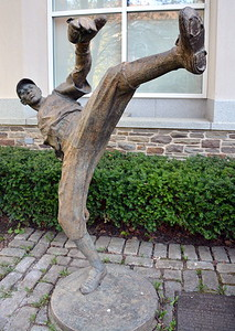 """Bronze sculpture of Leroy """"Satchel"""" Paige by Stanley Bliefeld at the National Baseball Hall of Fame & Museum"""