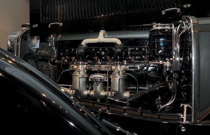 <h3>1929 Blower Bentley</h3> This might be the most famous engine on display. It belongs to the car Ian Flemming gave James Bond in the early novels. W.O. Bentley didn't want to include the supercharger in this engine, but his racing customers forced the issue.