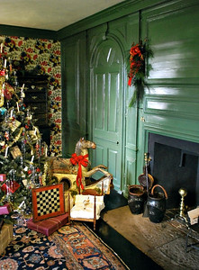 The Hall decorated for Christmas at the House of the Seven Gables